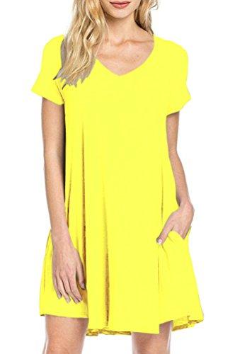 Yellow Tunic Dress (TINYHI Women's Short Sleeve Pocket Casual Loose T-Shirt Basic Tunic Dress)
