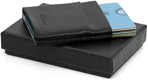 Slim Wallet Leather and Elastic Minimalist Credit Card Sleeve Gifts for Dad