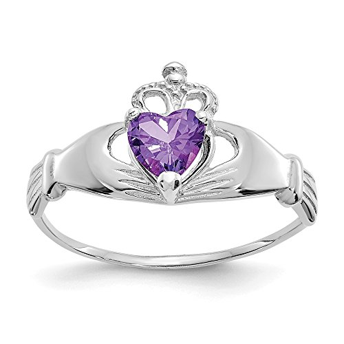 14k White Gold Cubic Zirconia Cz February Birthstone Irish Claddagh Celtic Knot Heart Band Ring Size 7.00 Fine Jewelry Gifts For Women For Her