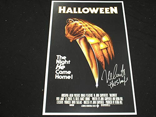 NICK CASTLE Signed Halloween 11x17 Poster The Shape Michael Myers B -