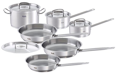fissler 10pc original profi cookware set various silver chefs pans rika jones buy. Black Bedroom Furniture Sets. Home Design Ideas