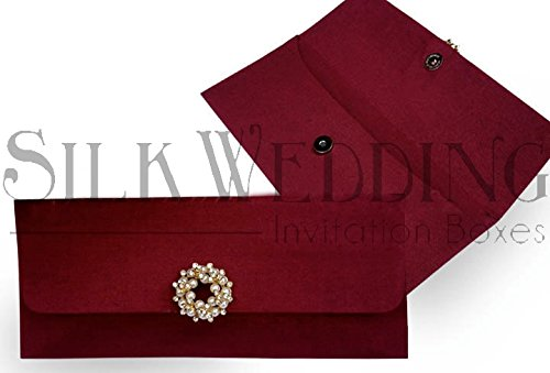 Bold Burgundy Silk Envelope With Ornate Pearl Embellishment Bold Faux Pearl