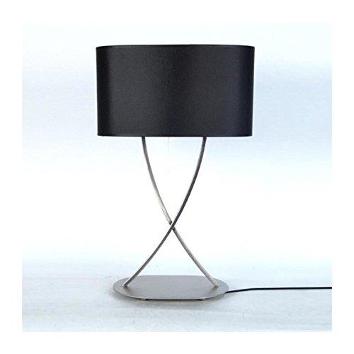 ELÉGANCE Lampe a poser acier carré 40x40x65 cm - Alu et schwarz