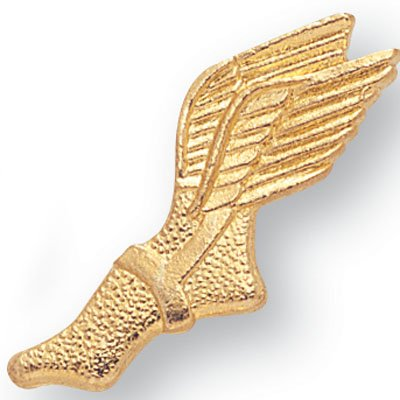 WINGED FOOT TRACK CHENILLE PIN GOLD- PACK OF 10 (Winged Foot)