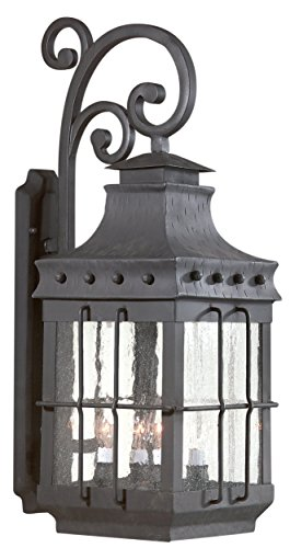 Troy Lighting Dover 4-Light Outdoor Wall Lantern - Natural Bronze Finish with Clear Seeded Glass - Bronze Dover Wall Lantern