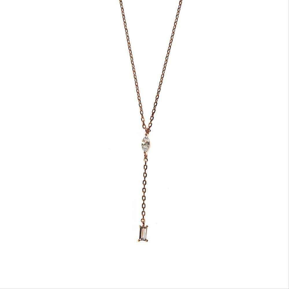 WLHLFL Collar 925 Plata Pura con Incrustaciones de Ojo de Caballo Zircon Cadena de clavícula Corta Collar de circón Cuadrado Collar de Cadena de Cuello