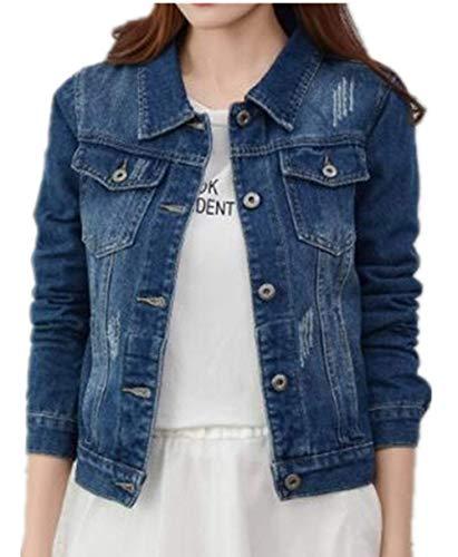 Giacche Corto Bavero Lunga Moda Single Tasche Blue Elegante Giovane Donna Anteriori Medium Giaccone Jeans Autunno Casual Di Semplice Breasted Cappotto Manica Giacca Glamorous 6qwaXvtxc