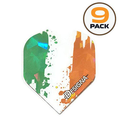 Designa 9 Pack Holographic Ireland Fighting Irish 75 Micron Strong Standard Dart Flights]()
