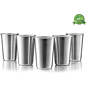 ac0e85867432 Premium Stainless Steel Cups - 16 Oz Stainless Steel Pint Cup Tumblers -  Eco-Friendly