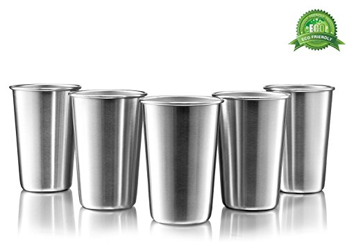 Premium Stainless Steel Cups - 16 Ounce Stainless Steel Pint Cup Tumblers - Eco-Friendly, BPA Free (5 Pack) (Glass Steel Stainless)