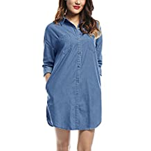 Allegra K Women's Drop Shoulder Long Sleeves Loose Denim Tunic Shirt