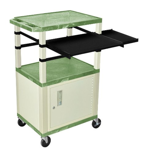 H WILSON WTPSLP42GC3E Presentation Station, Cabinet and Black Front, 3-Shelf and Putty Legs, Side Pull-Out Shelves, Tuffy, Green (Presentation Shelf)