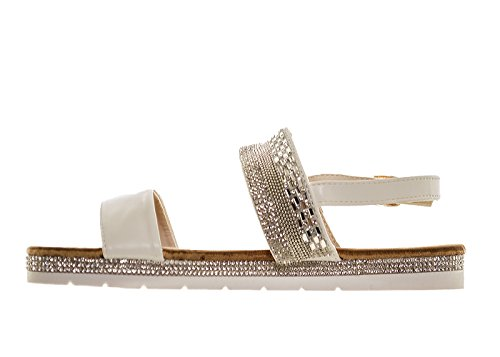 Fuchia boutique Women's White Embellished Diamante Sparkly Strappy Flat Sandals Comfy Occasion Prom Party White D42dmPC