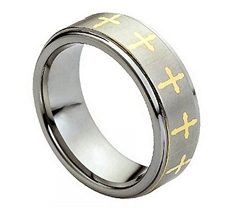 (Free Engraving 8mm Tungsten Carbide Gold Plated Cross Stepped Edge Satin Finish Wedding Band Ring for Men Or Ladies)