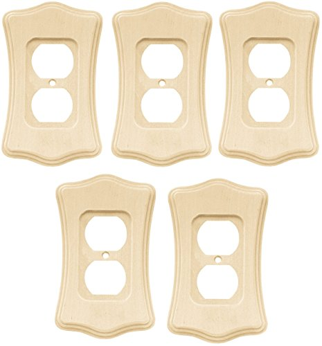 Liberty Hardware 64637 Wood Scalloped Single Duplex Outlet Wall Plate / Wall Cover, Unfinished Wood Set of - Liberty Outlets