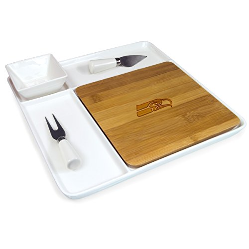 (NFL Seattle Seahawks Homegating Peninsula Serving Tray with Cutting Board and Cheese Tools)