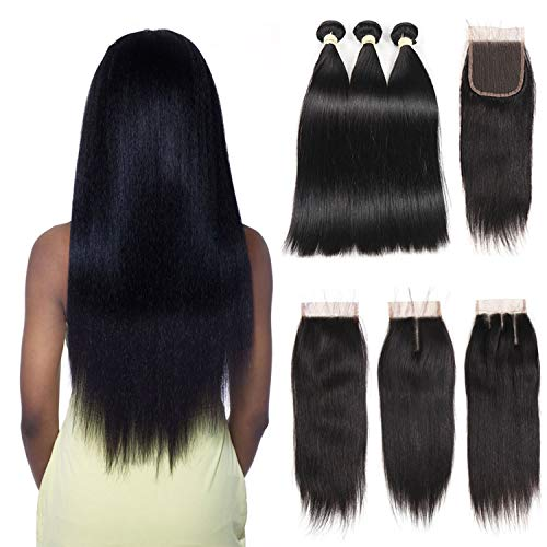 (Straight Human Hair Bundle With Closure 3 Bundles With Closure Natural Black Color Non Remy Human Hair Extension,22 24 26 & Closure20,Natural Color,Free)