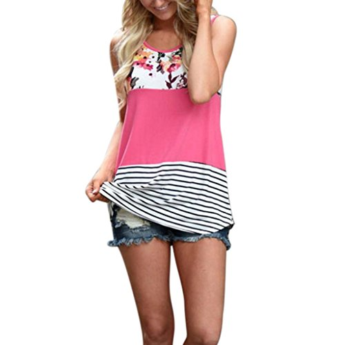 TLTL Women Floral Print Lace Patchwork Tank Top Vintage Casual Sleeveless T-Shirt (L, Hot Pink) ()