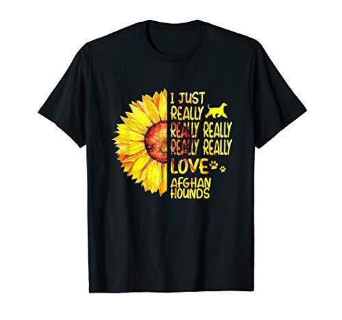 Afghan Hound Tshirt Afghan Hound Gift Sunflower Shirt Women ()