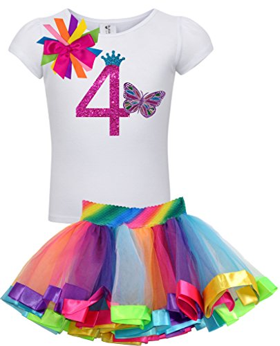 Bubblegum Divas Little Girls 4th Birthday Rainbow Princess Butterfly Tutu Outfit 4]()