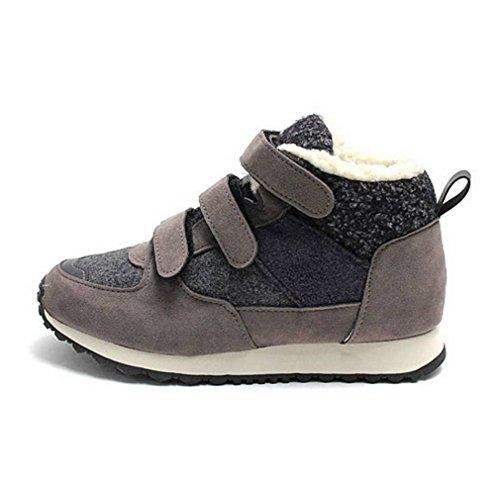 Epicstep Donna Inverno Caldo Foderato In Pelliccia Di Tela Zip Allacciata Cunei Alti Scarpe Sneakers Da Ginnastica Grigio Velcro