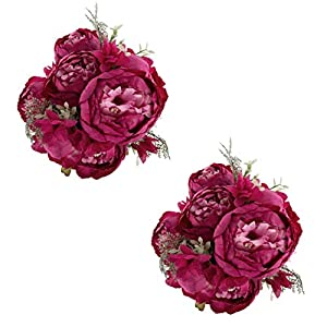EZFLOWERY 2 Pack Artificial Peony Silk Flowers Arrangement Bouquet for Wedding Centerpiece Room Party Home Decoration, Elegant Vintage, Perfect for Spring, Summer and Occasions (2, Hot Pink) 30
