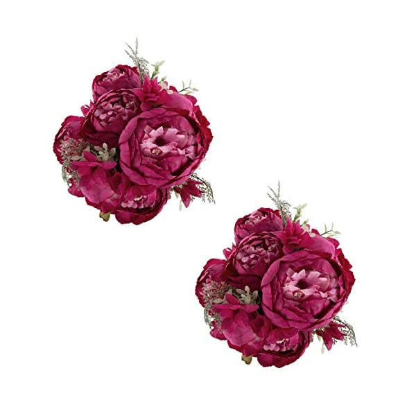 EZFLOWERY 2 Pack Artificial Peony Silk Flowers Arrangement Bouquet for Wedding Centerpiece Room Party Home Decoration, Elegant Vintage, Perfect for Spring, Summer and Occasions (2, Hot Pink)