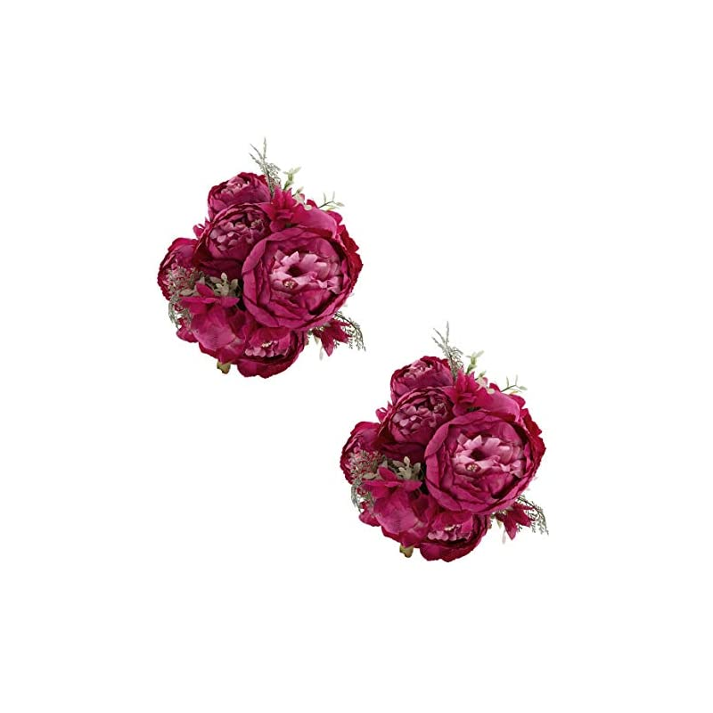 silk flower arrangements ezflowery 2 pack artificial peony silk flowers arrangement bouquet for wedding centerpiece room party home decoration, elegant vintage, perfect for spring, summer and occasions (2, hot pink)