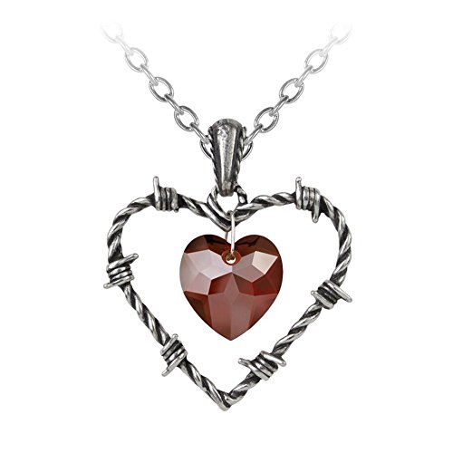 Alchemy Gothic Love Imprisoned Crystal Heart Pendant Necklace Pewter Jewelry P692 ()