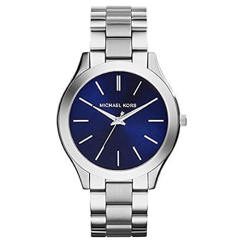 Michael Kors MK3379 Slim Runway Silver Stainless Steel Bracelet Watch 42mm Women's Watch - Navy Water Resistant Bracelet