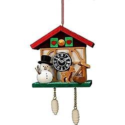 Alexander Taron Importer 10-0565 Christian Ulbricht Ornament - Cuckoo Clock Snowman - 4.5 H x 2.5 W x 1.5 D, Brown