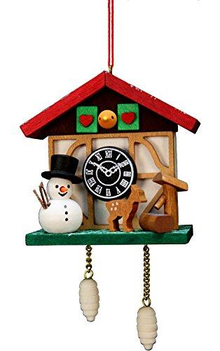 (Alexander Taron Importer 10-0565 Christian Ulbricht Ornament - Cuckoo Clock Snowman - 4.5