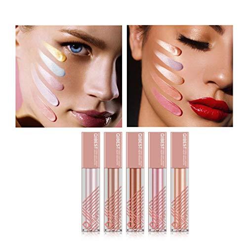 5 Colors Set Long-lasting Makeup eyeshadow Liquid Highlighter Liquid Cosmetic Glow Brightener Shimmer-Silver, Rose, Golden color