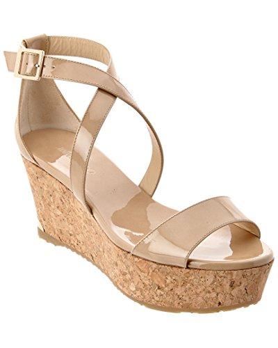 Jimmy Choo Gold Sandals (Jimmy Choo Portia 70 Patent Cork Wedge Sandal, 40)