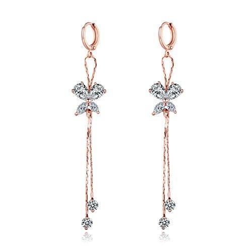 MASOP White Rhinestones Rose Gold Color Earrings Dangle Drop Fashion Jewelry