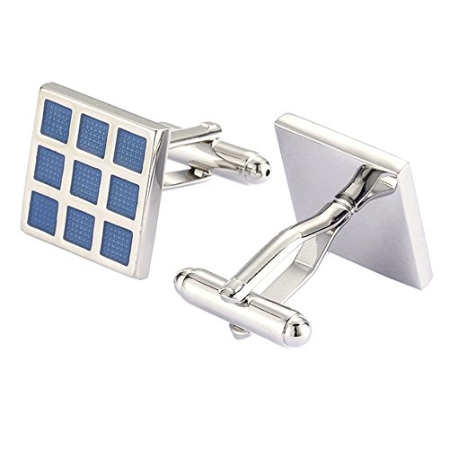 UM Jewelry 2pcs Rhodium Plated Classic Solar Panel Square Block Cufflinks,Blue Silver Two Tone