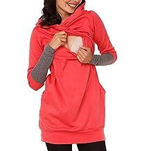 Moxeay Women Long Sleeve Breastfeeding Hoodie Nursing Top Maternity Shirts