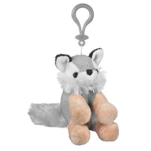 Wolf Stuffed Grey Wolf Clip Toy Keychain by Wild Life Artist