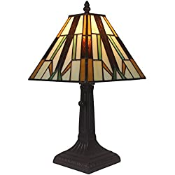 "Amora Lighting AM100TL08 Tiffany Style Mission Table Lamp, 8""W x 15.5""H"