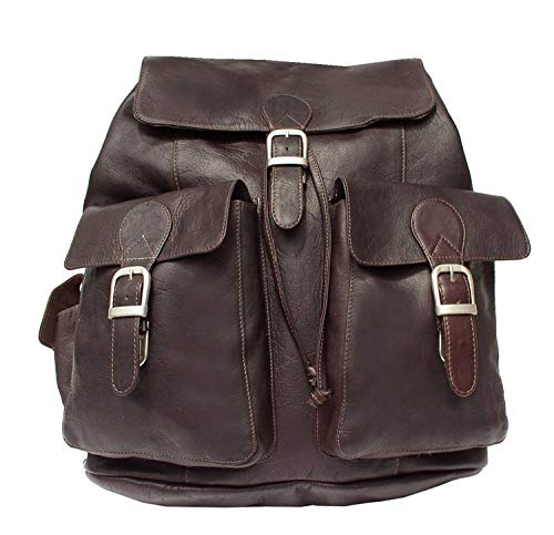 (Piel Custom Personalized Leather Adventurer Large Buckle Flap Backpack in)