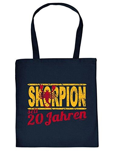 Geschenkidee zum 20. Geburtstag: Sternzeichen Unisex Jutetasche/ Einkaufstasche/ Stoffbeutel/ Skorpion seit 20 Jahren