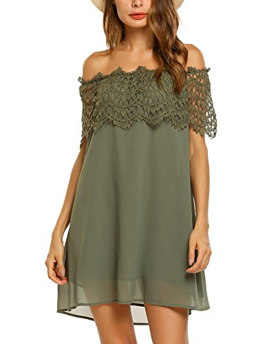 Elesol Women's Off The Shoulder Strapless Mini Chiffon Dress,Army Green,L