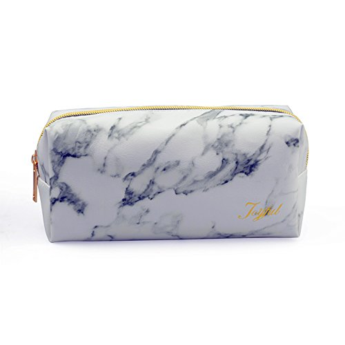 Joyful Marble Cosmetic Bag Gold Zipper Storage Bag Portable Ladies Travel Square Makeup Brushes Bag(7.5″x3.5″x2.8″)