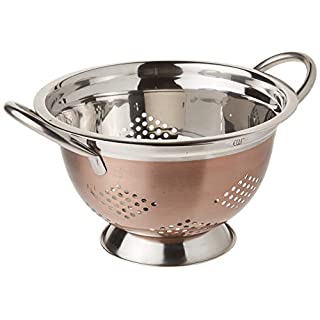 EURO-WARE High Grade Stainless Steel Colander for Pastas or Washing Fruits, Vegetables, Salads and More with Decorative Copper Finish (3 Quart)