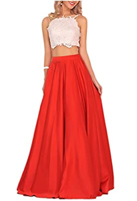 Miss Chics Long Prom Dresses for Women Evening Gowns Two Piece Lace Rhinestone