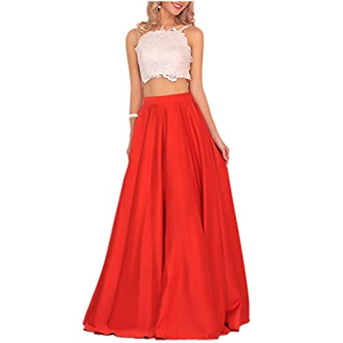 Miss Chics Womens Formal Dresses Long Prom Gowns Top Rhinestones Lace US Size 2 Red