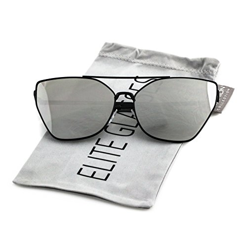 Flat Top Oversized Cat Eye VINTAGE RETRO Style Aviator SUNGLASSES Metal Frames (Black Frame / Silver Mirrored, - Aviator Sunglasses Cat
