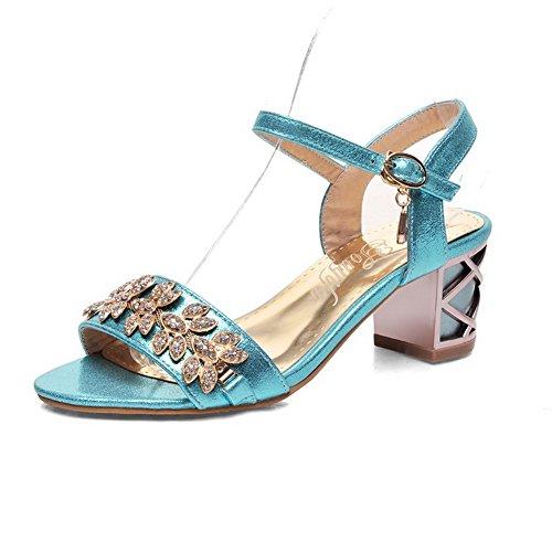 VogueZone009 Women's Soft Material Open Toe Kitten Heels Buckle Solid Sandals Blue bviHH