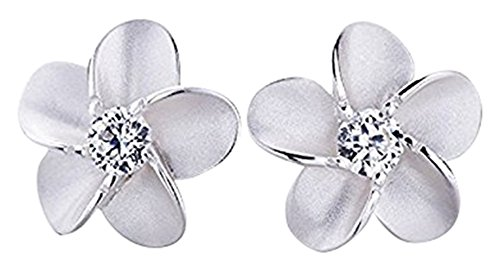 Huangiao Jewelry Women Sterling Silver Hawaiian Plumeria Flower Cubic Zirconia Stud Earrings