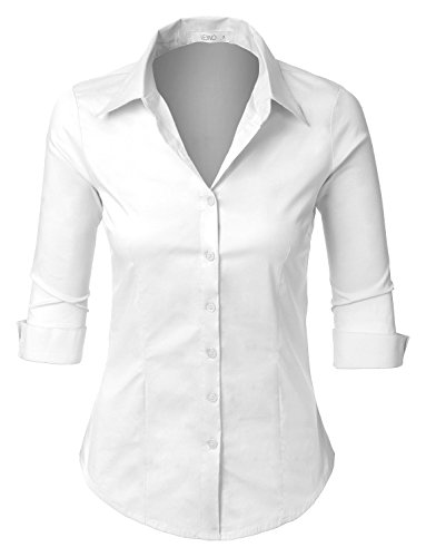 (LE3NO Womens Roll Up 3/4 Sleeve Button Down Shirt with Stretch, L3NWT574A_WHITE, Small)